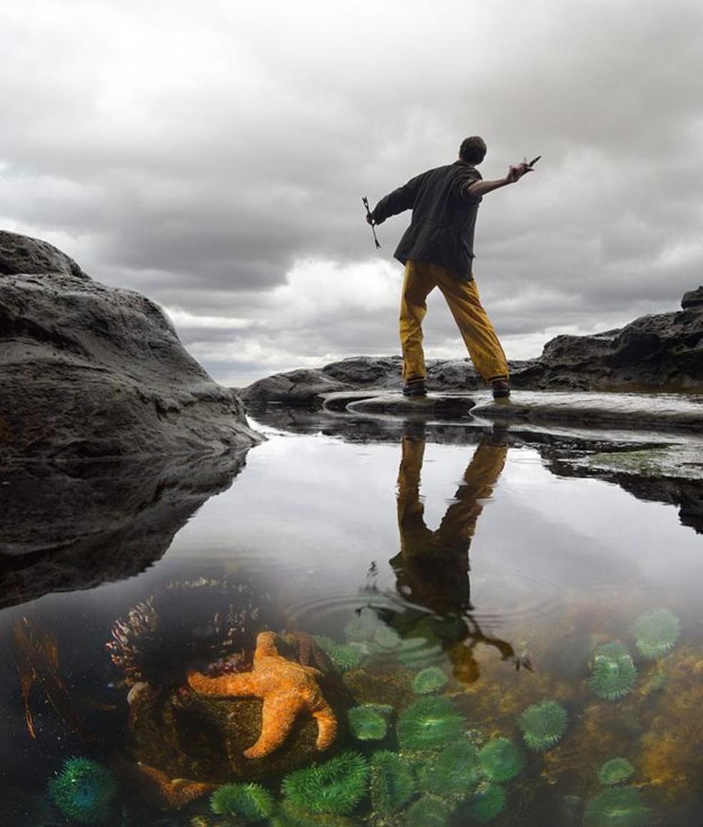 As poças de maré foram um laboratório natural para Robert Paine — Foto: Passion Pictures/BBC