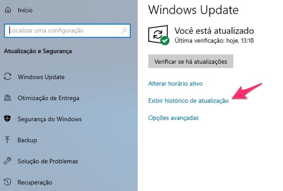 Ação para verificar o histórico de atualizações do Windows 10 — Foto: Reprodução/Marvin Costa