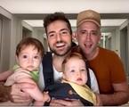 Paulo Gustavo, o marido Thales Bretas e os filhos gêmeos, Gael e Romeu | Reprodução