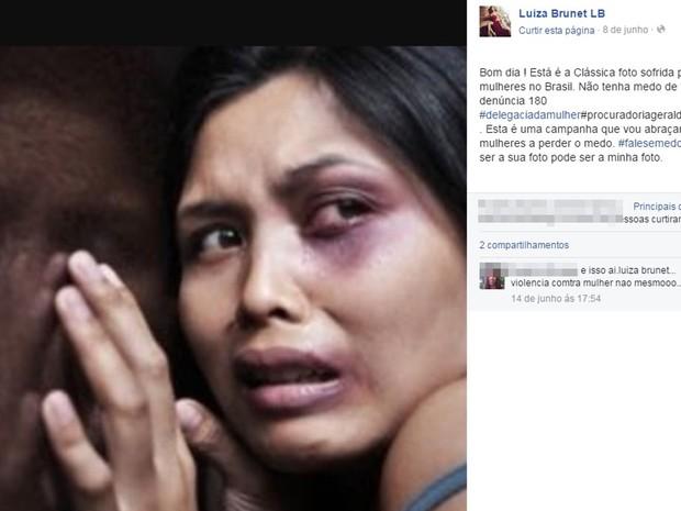 Luiza Brunet, embaixadora do Instituto Avon, se engaja em campanha contra a violência doméstica nas redes sociais, dias após suposta agressão (Foto: Reprodução/Facebook)