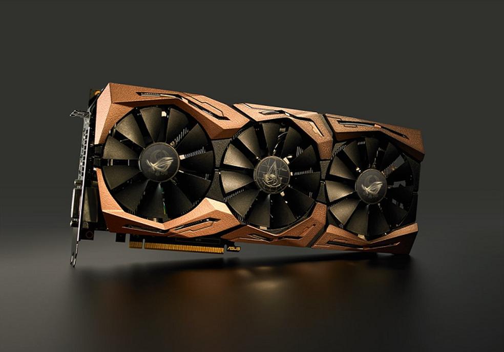 Versão da GTX 1080 Ti inspirada em Assassin's Creed Origins traz tons de bronze como cor principal (Foto: Divulgação/Asus) (Foto: Divulgação/Asus)