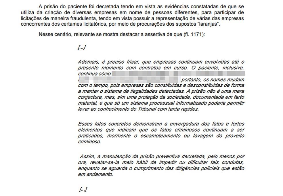 Decisão relata esquema investigado pela operação Topique.  — Foto: Reprodução