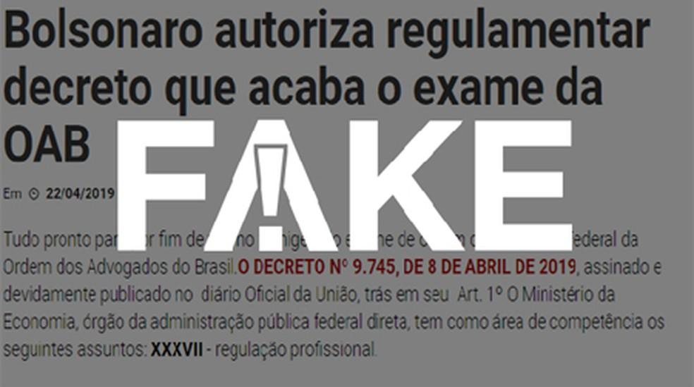 É #FAKE que Bolsonaro autoriza regulamentar decreto que acaba com exame da OAB — Foto:  G1