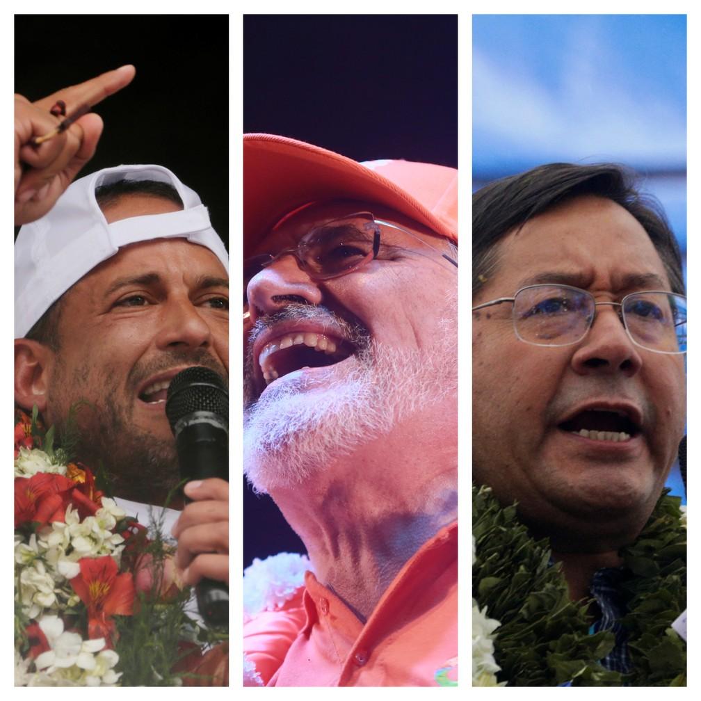Luis Fernando Camacho, Carlos Mesa e Luis Arce, os candidatos à presidência da Bolívia — Foto: Reuters