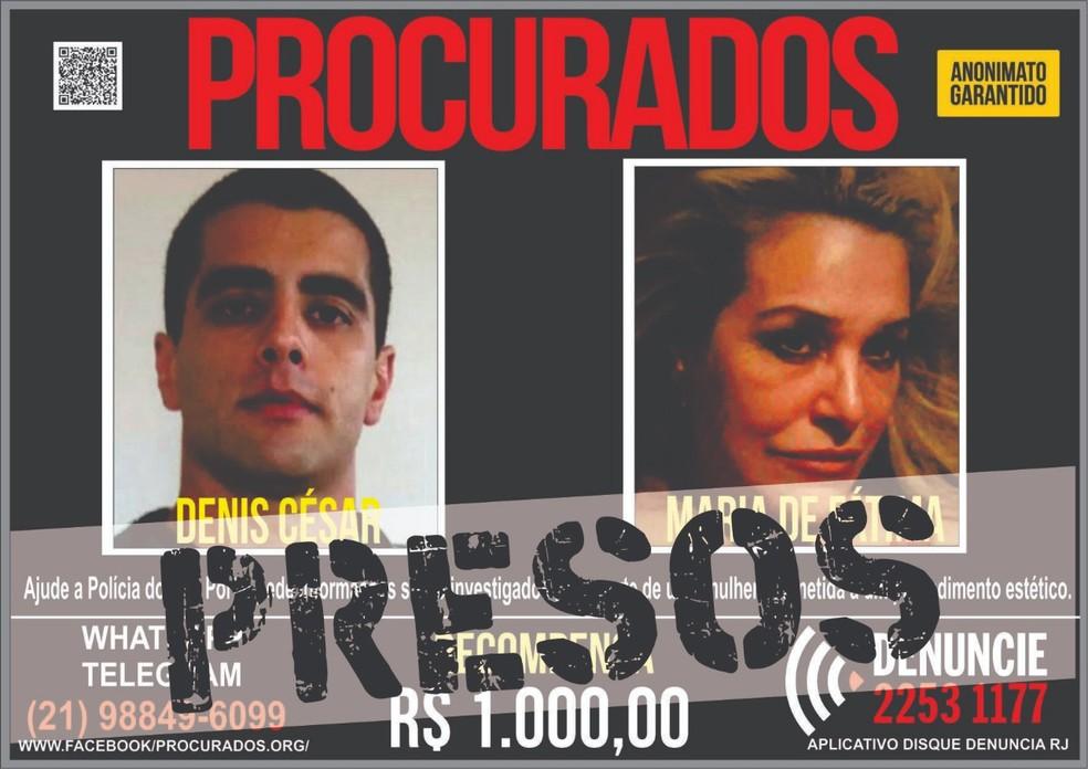 Denis César, o Dr. Bumbum, e sua mãe, Maria de Fátima, foram presos após informações enviadas ao Disque Denúncia (Foto: Divulgação/Disque Denúncia)