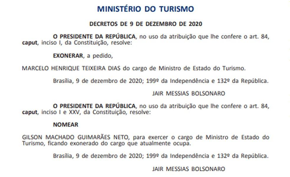 Gilson Machado é nomeado ministro do Turismo — Foto: Reprodução / Diário Oficial da União