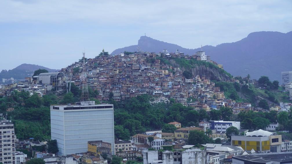 Corcovado e Morro da Providência podem ser vistos do alto do brinquedo.  — Foto: Gustavo Wanderley/G1