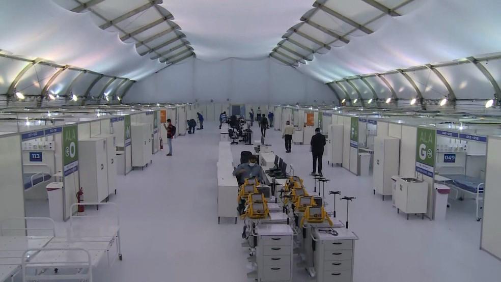 Hospital de campanha de São Gonçalo antes da inauguração — Foto: Reprodução/TV Globo