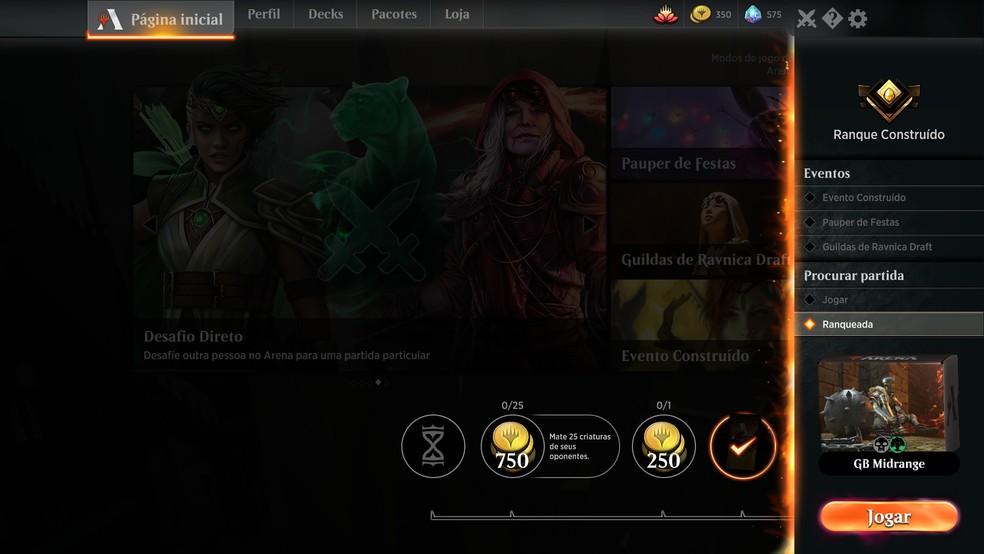 Clique em jogar para acessar os modos de jogo do Magic Arena — Foto: Reprodução/Murilo Molina