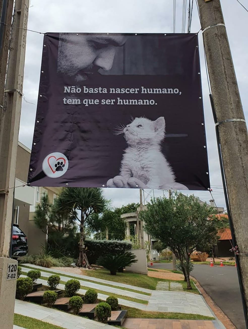 Banner foi colocado na frente da casa a moradora  — Foto: Arquivo Pessoal