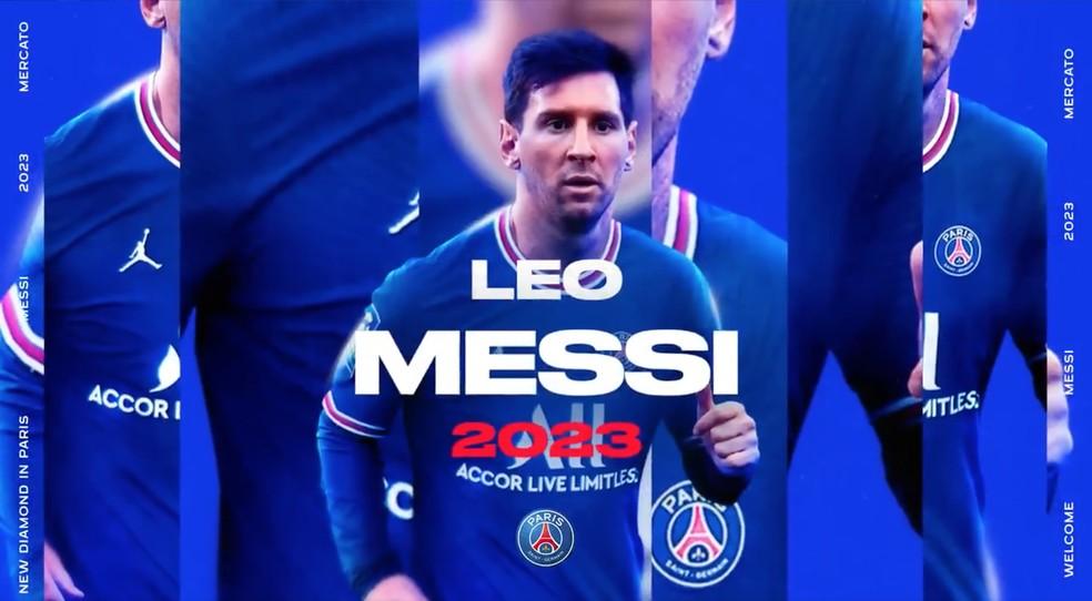 Lionel Messi fechou contrato com o Paris Saint-Germain até 2023 — Foto: Reprodução / Twitter