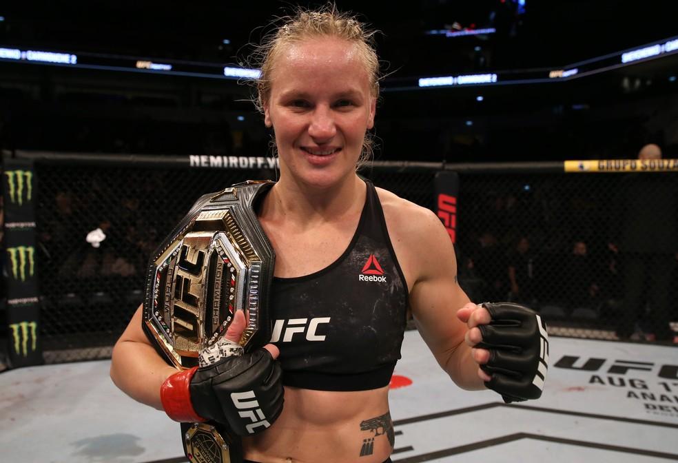 Valentina Shevchenko é a atual campeã peso-mosca do UFC — Foto: Getty Images