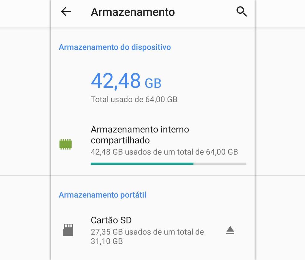 Configuração de cartão microSD em um celular Android. Redefinição não exclui dados em cartões configurados como 'armazenamento portátil'. — Foto: Reprodução
