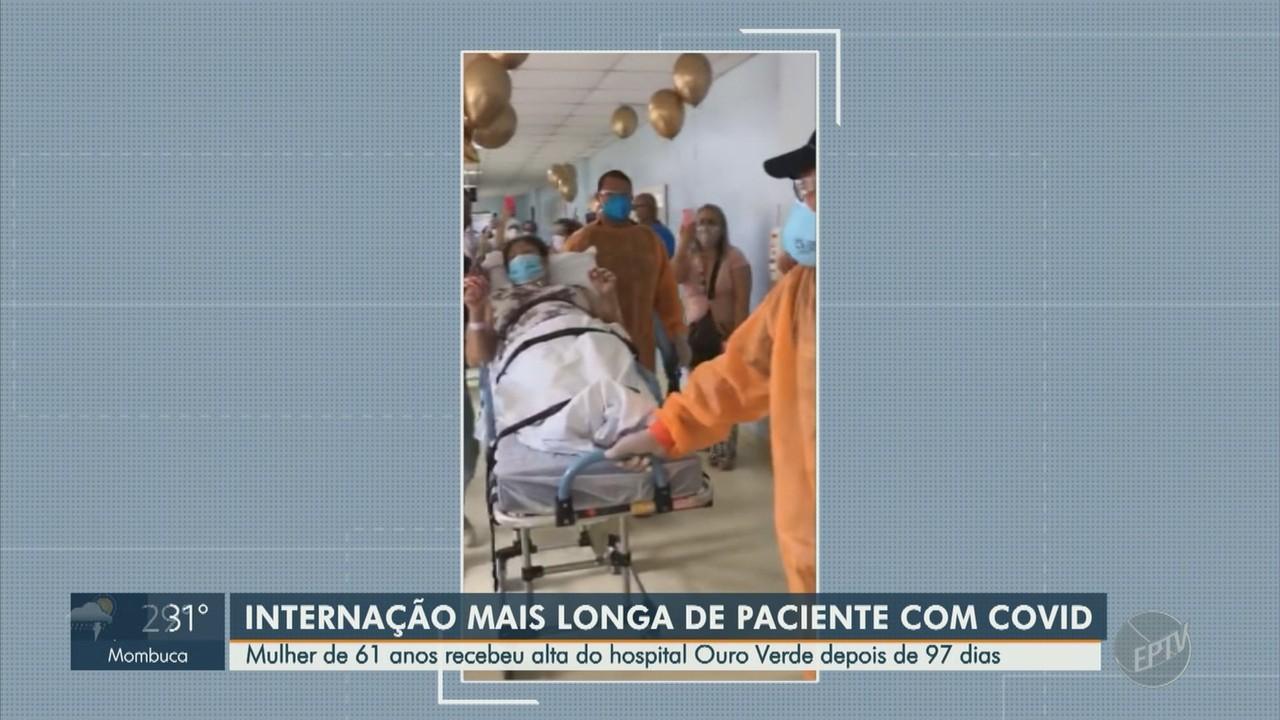 Mulher de 61 anos recebe alta do hospital Ouro Verde após 97 dias internada com Covid-19