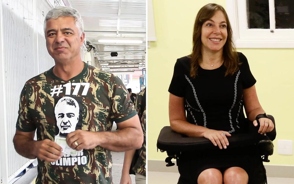 Major Olimpio (PSL) e Mara Gabrilli (PSDB) são os novos senadores de São Paulo — Foto: Newton Menezes/Futura Press/Estadão Conteúdo e Aloisio Mauricio/FotoArena/Estadão Conteúdo