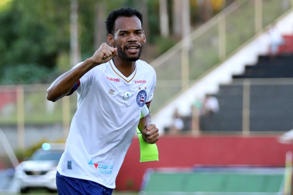 Anderson foi autor do primeiro gol do Bahia no Ba-Vi do último domingo — Foto: Felipe Oliveira / Divulgação / EC Bahia