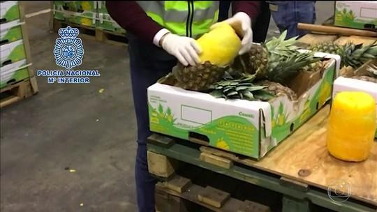 Polícia apreende abacaxis com cocaína na Espanha e em Portugal