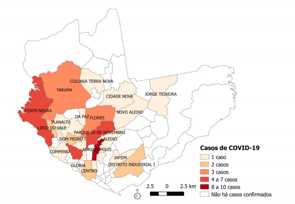 Mapa detalha incidência de casos de coronavírus em bairros de Manaus — Foto: Reprodução/FVS-AM