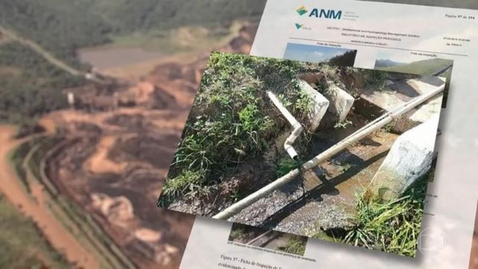 Foto que, segundo a ANM, a Vale omitiu da agência; imagem poderia sinalizar problema na barragem de Brumadinho — Foto: Arte/TV Globo