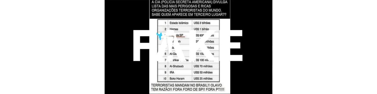 É #FAKE que CIA colocou Foro de São Paulo na lista de organizações terroristas