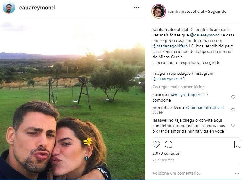 Publicação sobre Cauã Reymond e Mariana Goldfarb (Foto: Reprodução/Instagram)