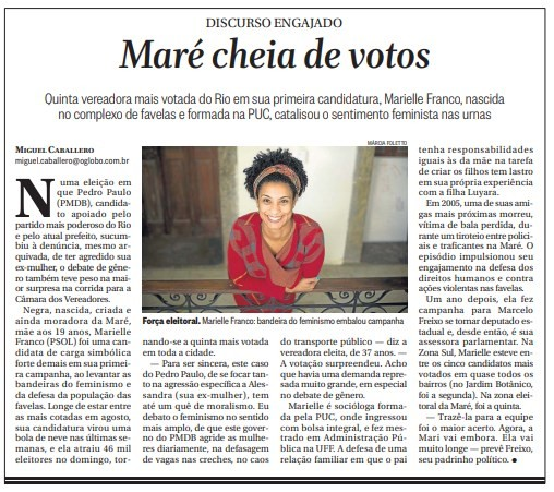 Reportagem sobre Marielle Franco após eleições municipais de 2016
