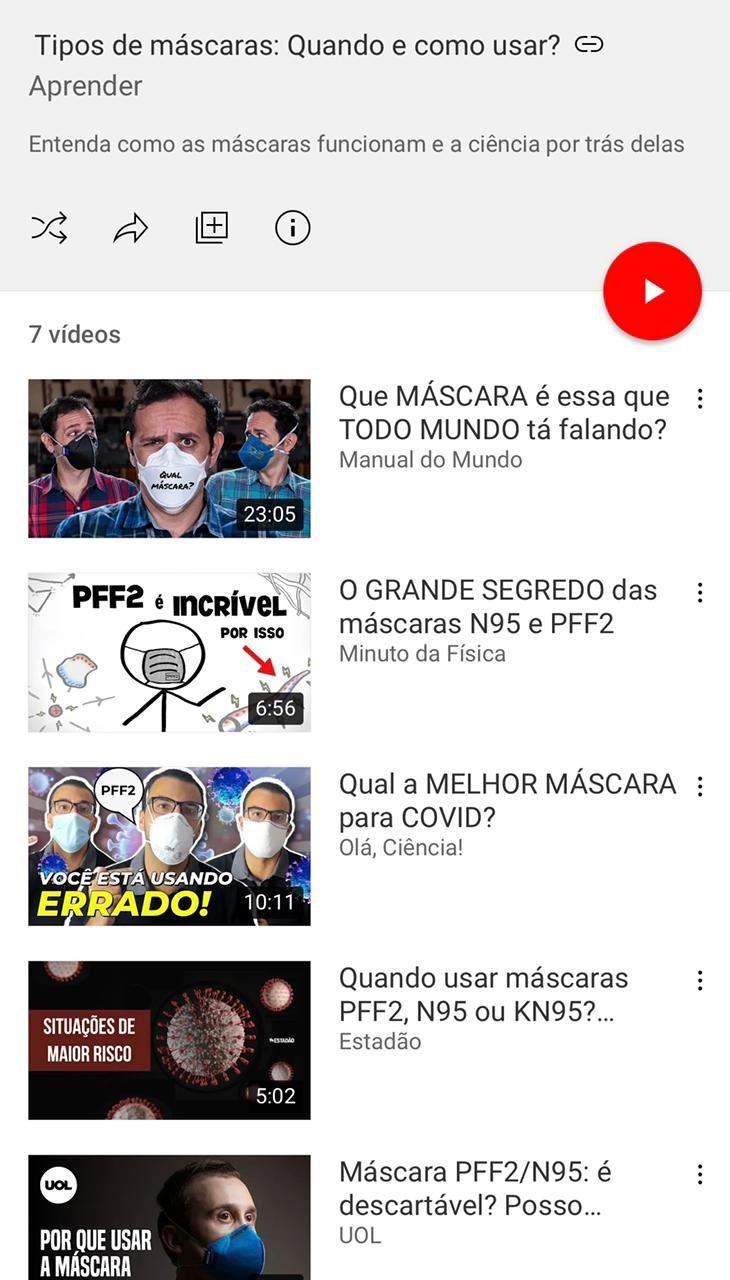 YouTube  lança, hoje, playlist  de vídeos de criadores ensinando a importância de se usa corretamente a máscara, na pandemia