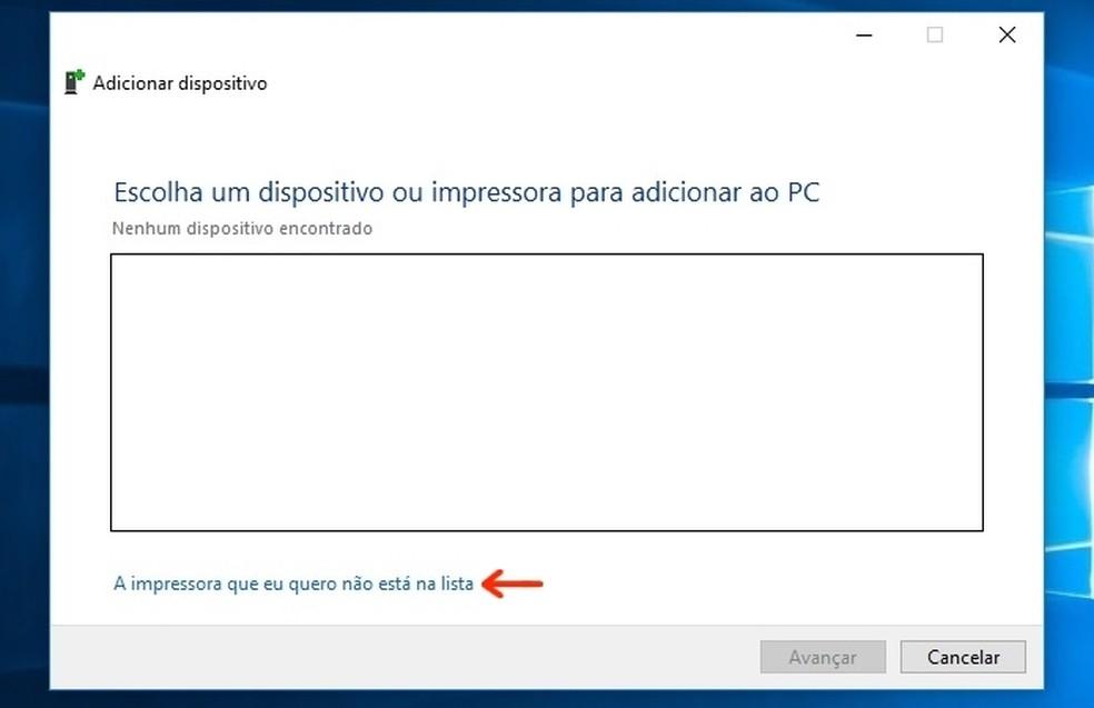 Indicação de link para inclusão de impressora não detectada pelo Windows 10  (Foto: (Foto: Reprodução/Raquel Freire))