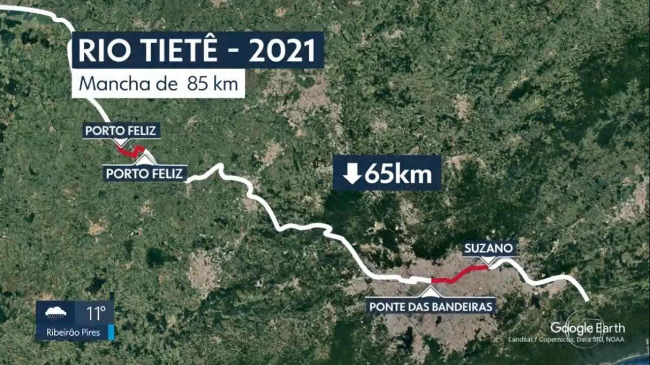 Mancha de poluição no Rio Tietê diminuiu de 150 km para 85 km nos últimos 12 meses, segundo Fundação SOS Mata Atlântica