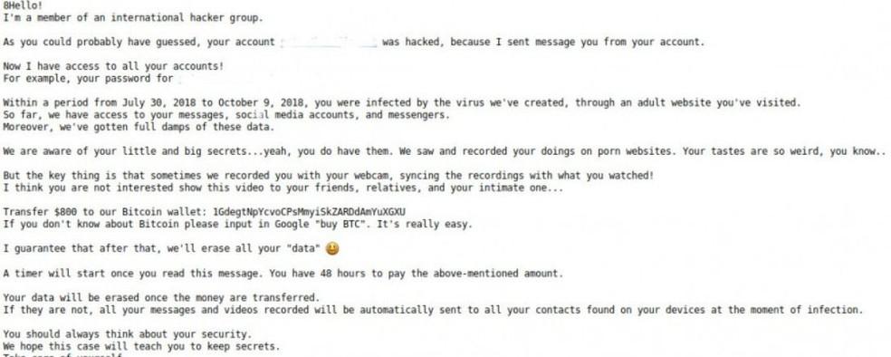 Versão em inglês do e-mail enviado por hackers — Foto: Reprodução/ Bleeping Computer