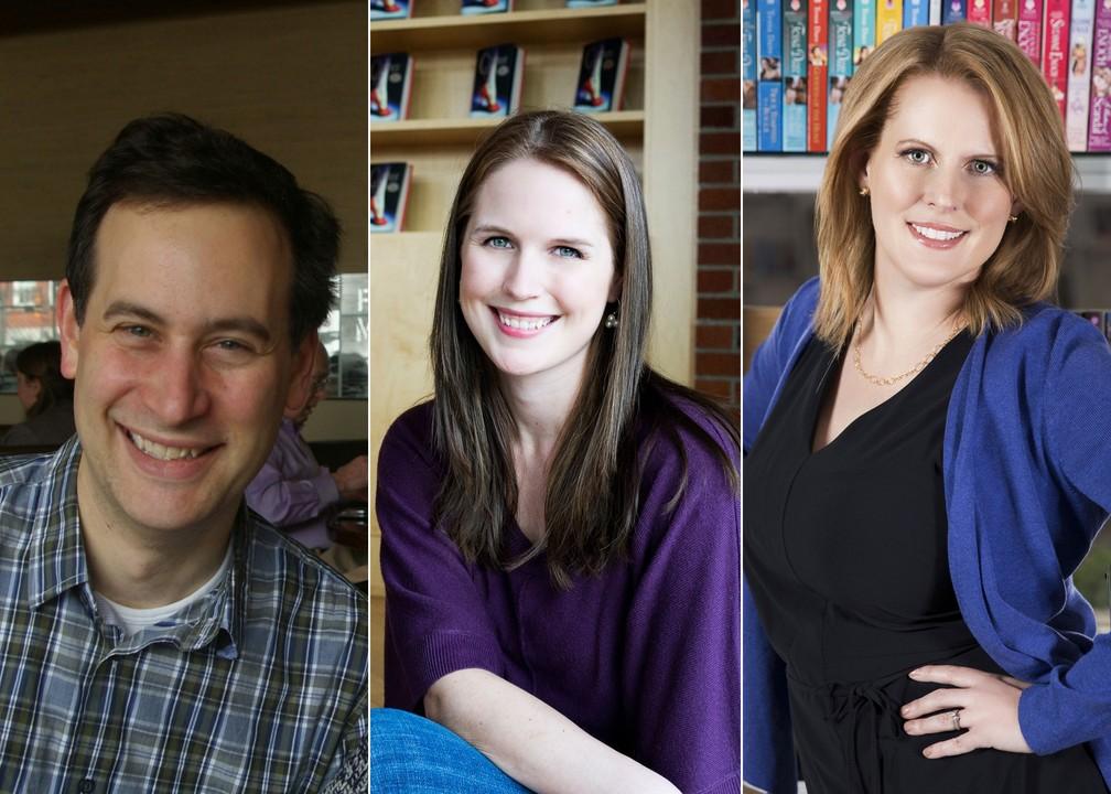 -  A partir da esquerda: os escritores best-sellers David Levithan, Marissa Meyer e Tessa Dare, anunciados para a Bienal Internacional do Livro de São P