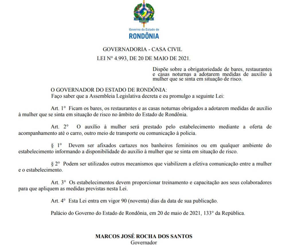 Governo sanciona Lei 4.993 de auxílio à mulher em situação de risco em bares, restaurantes e casas noturnas, em Rondônia — Foto: Diário Oficial