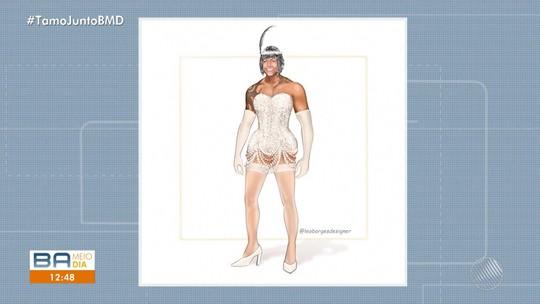 Com tema 'Cabaré', Léo Santana vai usar vestido com bordado feito a mão e acabamento de pérolas e cristais nas Muquiranas; FOTO
