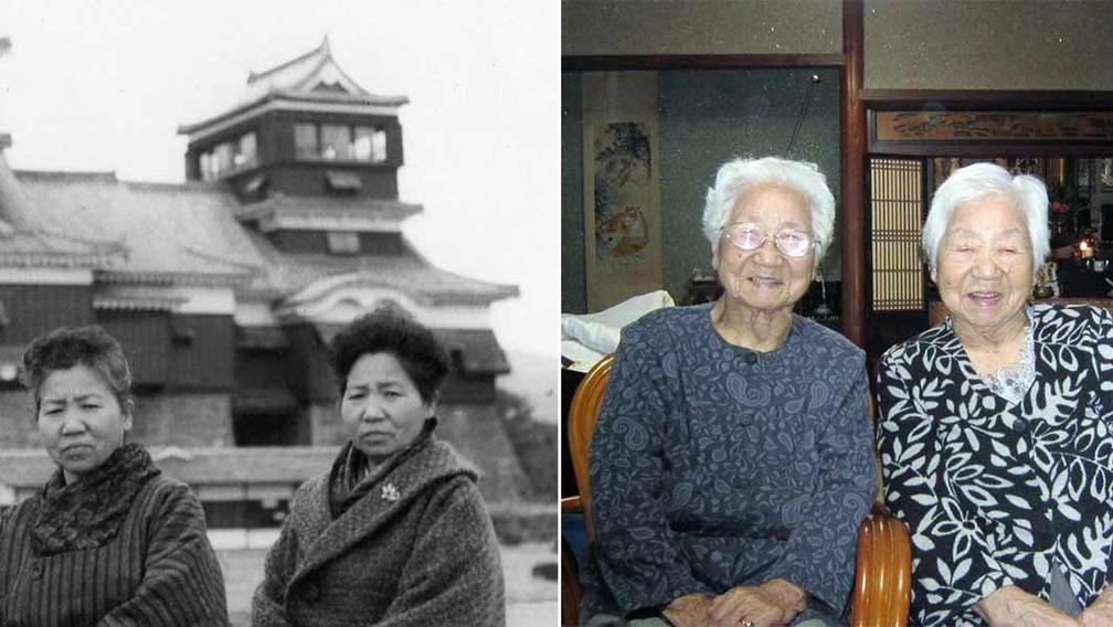 Umeno Sumiyama e Koume Kodama, de 107 anos, foram confirmadas como as gêmeas idênticas mais idosas do mundo pelo Guinnes em 1º de setembro de 2021 — Foto: Reprodução/Guinnes World Records