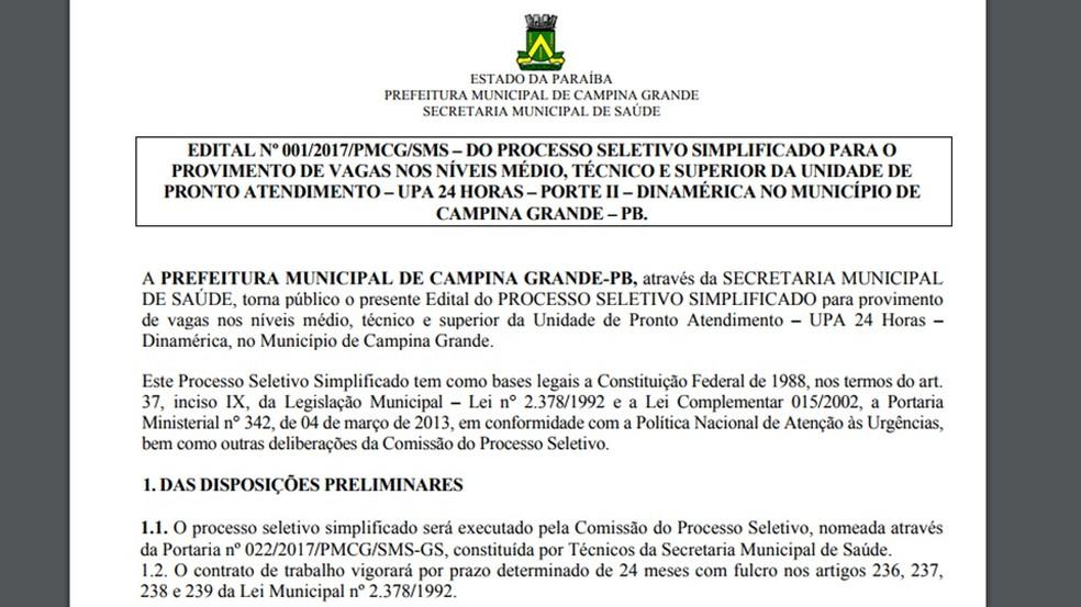 Edital de seleção para preencher vagas em UPA de Dinamérica, em Campina Grande (Foto: Reprodução/Site da Prefeitura de Campina Grande)