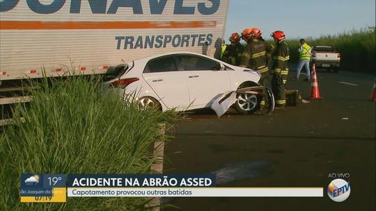 Acidente envolvendo 4 carros e 6 caminhões deixa um morto em Serra Azul, interior de SP