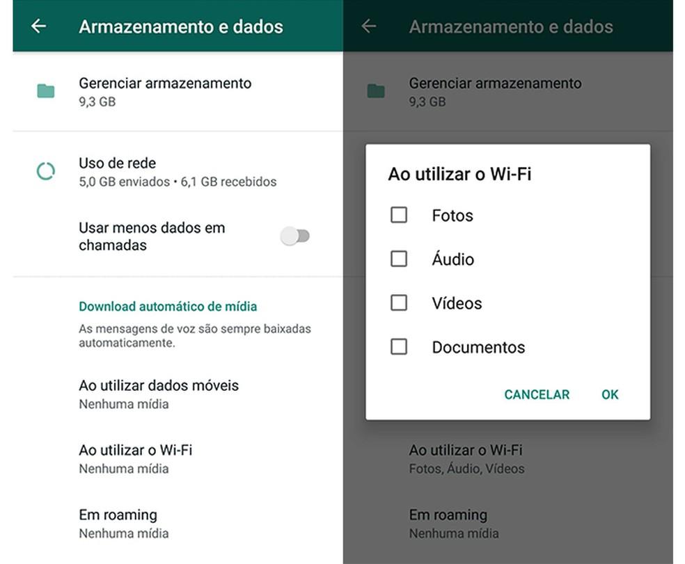 É possível desativar o download automático de mídia no WhatsApp — Foto: Reprodução/Marcela Franco