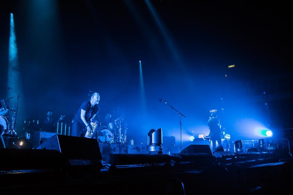 """O Radiohead durante a canção """"Ful stop"""" (Foto: Divulgação/Tuiki Borges)"""