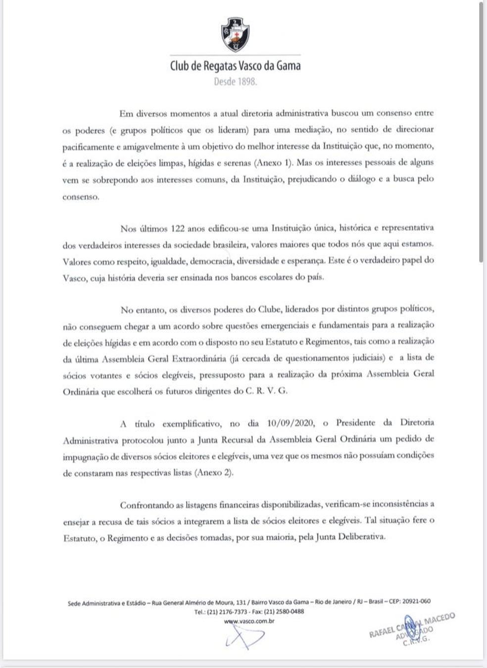 Campello pede ajuda ao MP/RJ — Foto: Reprodução