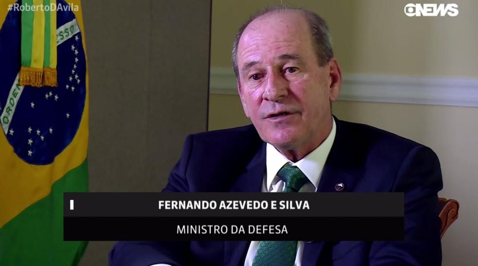 Fernando Azevedo e Silva, ministro da Defesa, durante entrevista à GloboNews â?? Foto: Reprodução