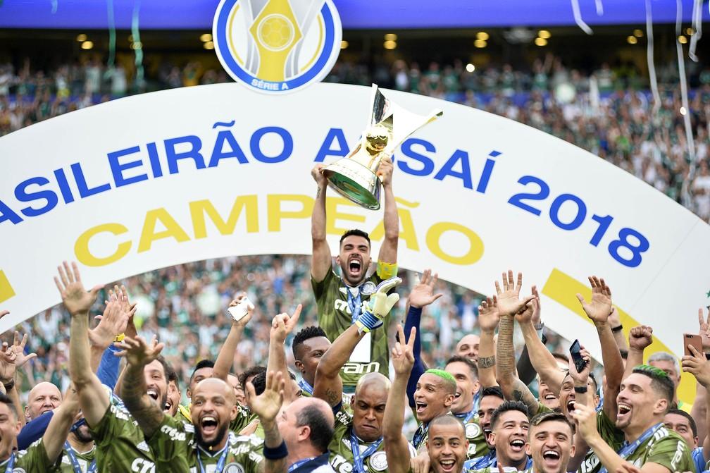 Palmeiras é o atual campeão e recordista de títulos brasileiros: dez conquistas — Foto: Marcos Ribolli