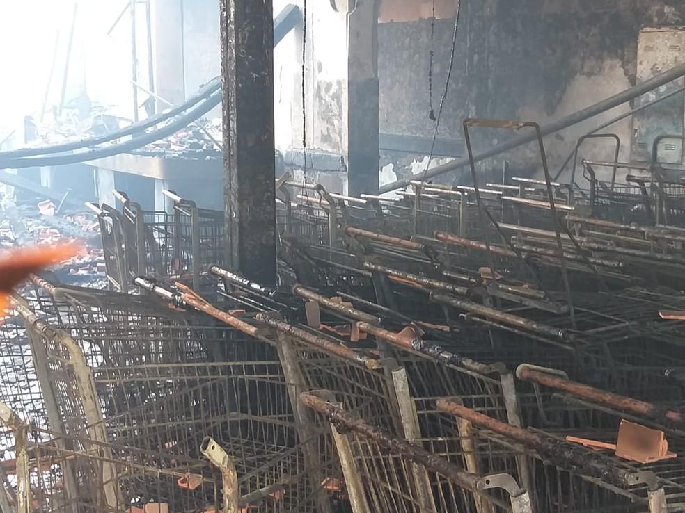 Supermercado ficou destruído em Tietê (SP) — Foto: Arquivo Pessoal