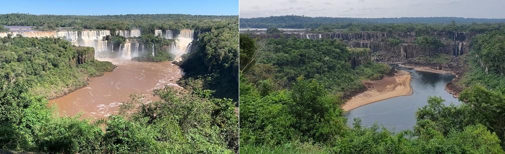 1º foto é desta sexta-feira (21), com mais de 2 milhões de litros d'água por segundo; 2ª é com a vazão a menos de 400 mil litros — Foto: Marcos Landim e Cassiano Rolim/RPC