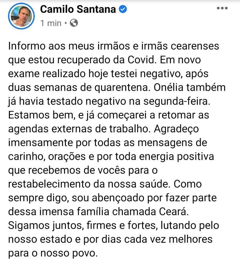 Camilo Santana anuncia que está recuperado da Covid-19