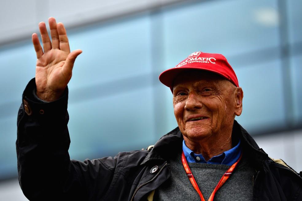 Niki Lauda em sua última aparição, no GP da Inglaterra — Foto: Getty Images