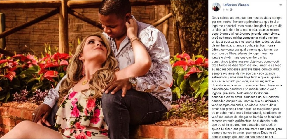 Namorado postou desabafo no Facebook após morte de jovem em Bariri — Foto: Facebook/Reprodução
