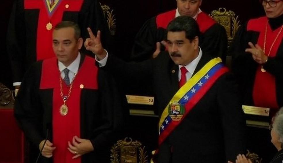Nicolás Maduro toma posse para segundo mandato na Venezuela — Foto: Reprodução/JN