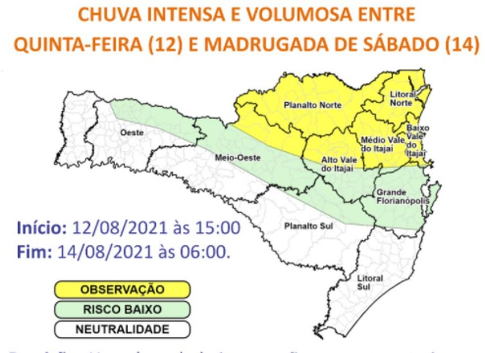 Mapa mostra previsão de chuva intensa para os próximos dias — Foto: Defesa Civil/Divulgação