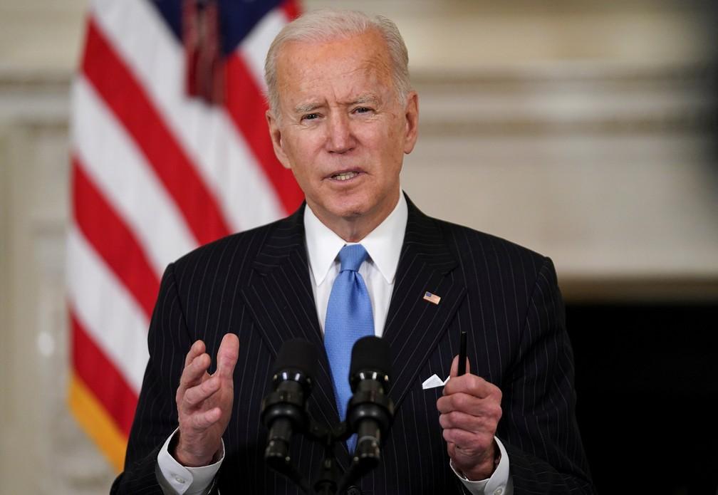 Presidente dos EUA Joe Biden em entrevista coletiva na Casa Branca em foto de 2 de março de 2021 — Foto: Kevin Lamarque/Reuters