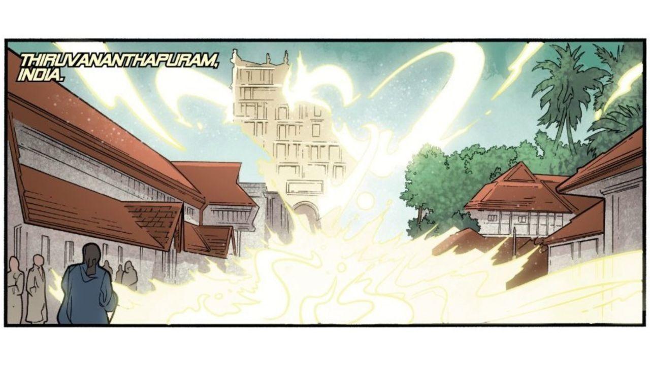 A cena que mostra o desaparecimento do o templo hindu sagrado de Sree Padmanabha Swamy, na cidade de Thiruvananthapuram, na Índia, na revista dos X-Men (Foto: Reprodução)
